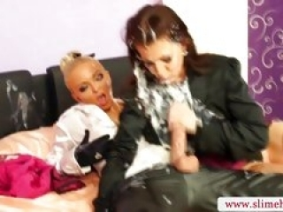 Hot lesbian riding on strapon...